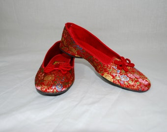 1950s Red Asian Satin Slippers, Shoes, Daniel Green Slippers, size 5.5 B