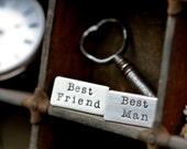 Personalised Groomsman/Best Man Cufflinks - silver cuff links, groomsman cuff links, wedding cuff links, gift for groom