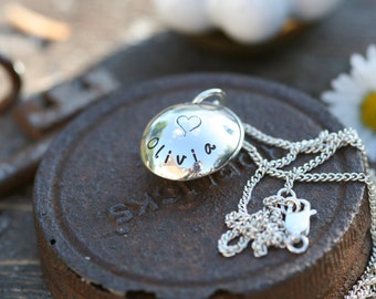 Personalized Lucy Locket - child locket, child necklace, silver locket, baptism gift