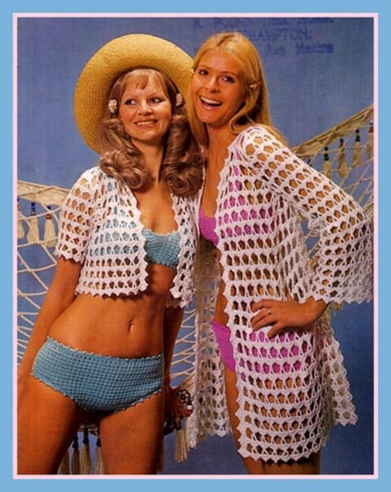 PDF Crochet Pattern For a Ladies Retro Beach Wear Bikini