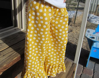 Mustard and white polka dot ruffle pants sizes 6-12 months to 4T