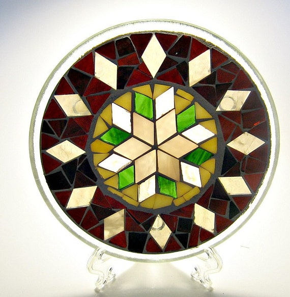 Stained glass mosaic pillar candle holder plate brown champagne cream green