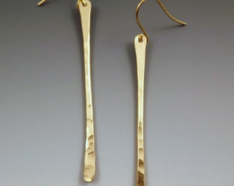 Hammered Nu Gold Brass Twigs- Long and Simple Elegance- Gorgeous Golden Earrings