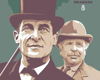 "Sherlock Holmes and Doctor Watson - Jeremy Brett and Edward Hardwicke - 17 x 11"" Digital Print"