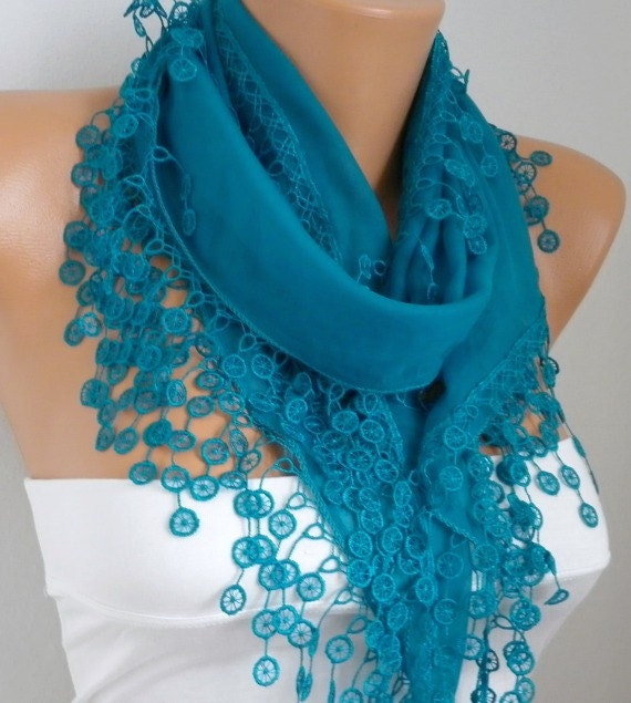ON SALE - Teal Scarf  Cotton  Scarf - Shawl -  Cowl Scarf with Lace Edge   - Bridesmaids gift - fatwoman