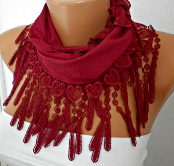 Burgundy Heart Scarf Valentine's Day Gift Pashmina Scarf Cowl Scarf - bridesmaid gift Gift Ideas For Her  Women Fashion Accessories