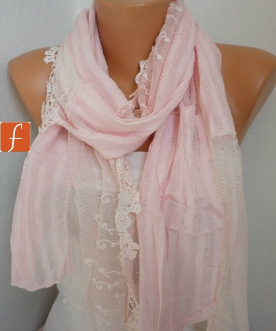 Pale Pink  Shawl Scarf -  Cowl  Scarf Lace Scarf  - Light Pink - Bridesmaid Gift - for Her  Gift  mom  Fashion Accessories