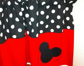 Mickey Mouse valance for kids room. Unisex valance for kids room. Black and red valance. Polka dot valances.