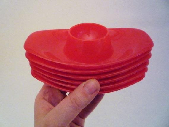 6 Red Vintage Eggcups
