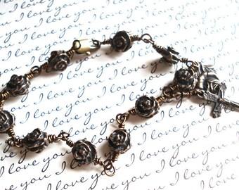 Rosary Bracelet - Roses - Unbreakable Rosary Bracelet - Vintaj Natural Brass -  Made in USA
