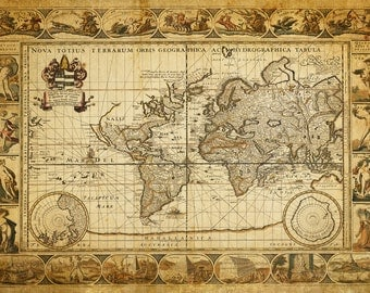 World Map of the Seven Wonders of the World - Print Poster