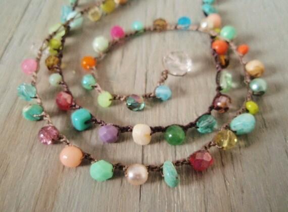 """Colorful crochet necklace """"RainBow Splash"""" Multi colored semi precious stone & glass bohemian jewelry, red, aqua, boho chic"""