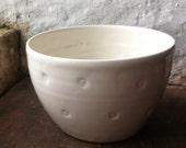 White spotty porcelain bowl