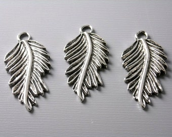 SALE - CHARM-as-LEAF-27.5MM - Antique Silver Plated Rain Forest Leaf Charms - 6 pcs