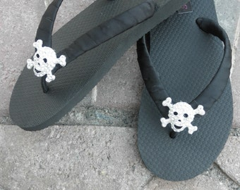 Flip Flops - Brazilian 100%  Rubber Flip Flops In Black with Rhinestone Skull