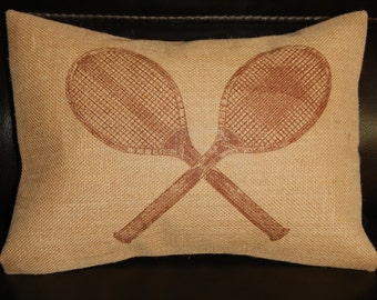 Vintage Tennis Burlap Pillow, Sports, Tennis, INSERT INCLUDED