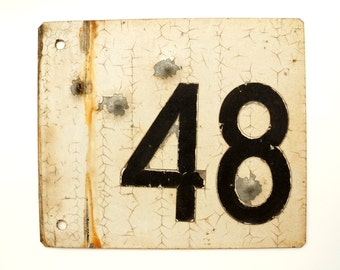 """Vintage / Antique Metal """"48"""" Train Track Number Sign, Double-Sided (12""""x10"""") - Industrial Home Decor, Collectible Signage, Man Cave"""