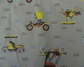1950s Fabric Remnant .. Vintage 1950s Novelty Print  Material ...  Cars ... 5 Yards