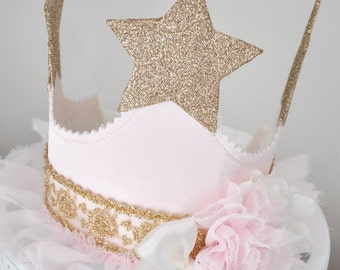 girl's Shabby Chic Vintage Star Fabric Birthday Crown, special occasion, dress up, photo prop