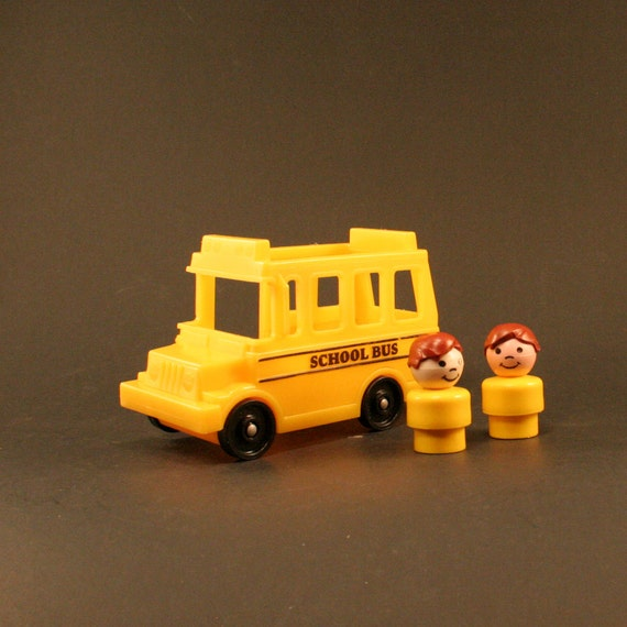vintage fisher price little people school bus with students. Black Bedroom Furniture Sets. Home Design Ideas