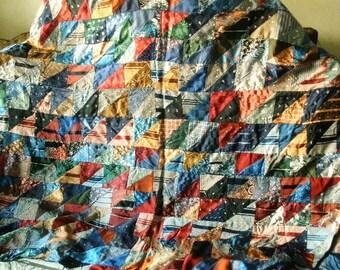 Vintage quilt mens ties silk rayon fabric folk art 1930s
