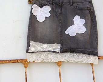 spring summer boho bohemian gypsy girl mini faded black denim rustic tattered vintage linen shabby chic skirt