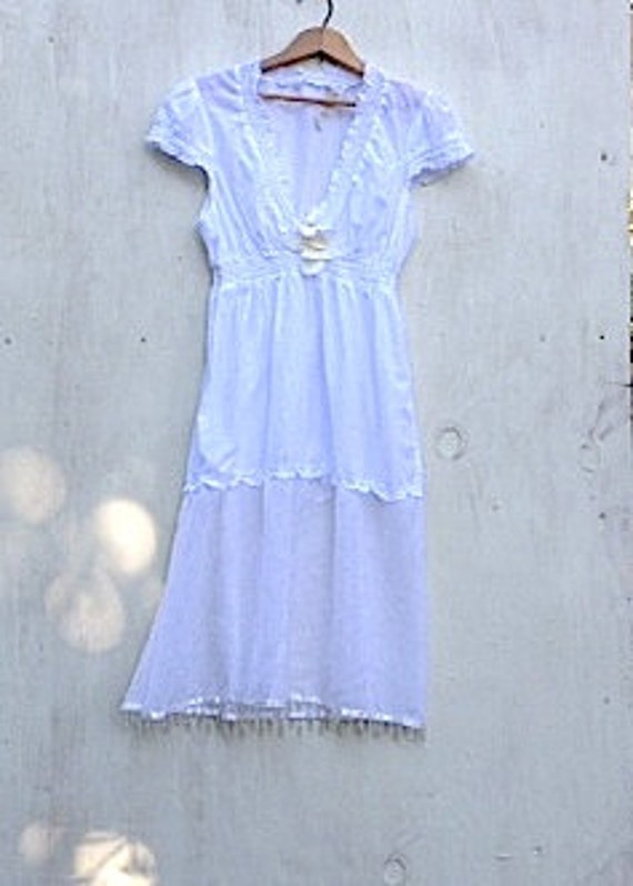snow white summer vintage casual simple handmade rustic wedding prairie bride lace cottage shabby mountain forest dress