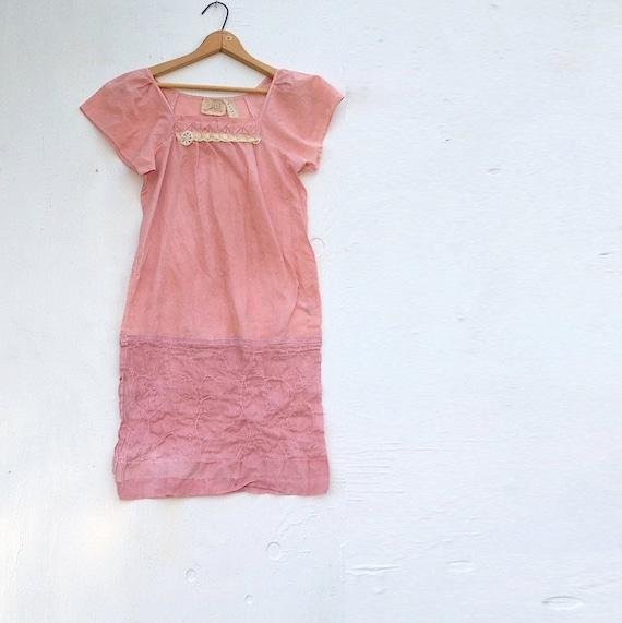 SALE rose pink shabby boho, upcycled eco clothing, hand dyed dress, wedding vintage lace, rustic dress, bridesmaid, party dress