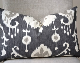 Decorative Lumbar Throw Pillow, 14 by 22 inch, Java Ikat, (Cover only)