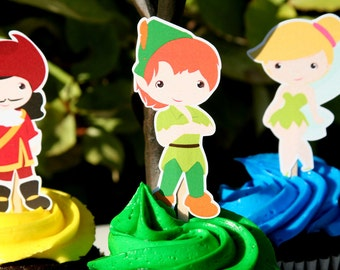 Peter Pan Party Cupcake Toppers Set of 12