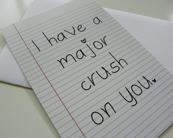 Valentine Card I Have A Major Crush Card Funny Romantic Card School Note Valentines Day Card Geekery Old School Note