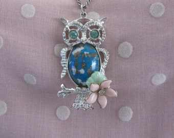 Owl Perched on a Branch Repurposed Necklace