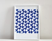 Blue pattern relief print, Islamic stars and swirls in ultramarine blue and white