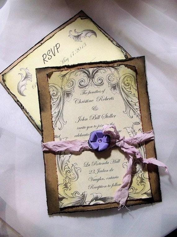 items similar to lavender purple wedding invitation With lavender wedding invitations etsy