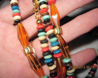 """Multicolored Wood and Topaz Glass Bead Necklace...76""""......one of a kind.1360h"""