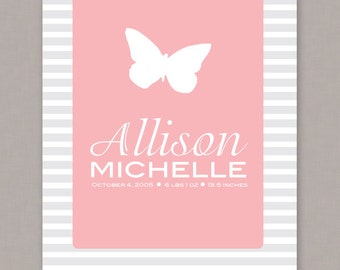 PRINTABLE 8x10 Custom Birth Announcement Poster - PDF digital file