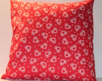 12x12 Valentine's Day Red Hearts Decorative Pillow