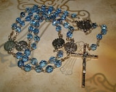"""Rare """"Our Lady of the Snows"""" Blue Crystal Glass Beaded Rosary"""
