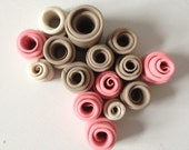 SALE 40% off Pearl, grey and pink rolled tube sculpture, medium sculpture of polymer clay, neutral decor, gathering of fifteen clay tubes