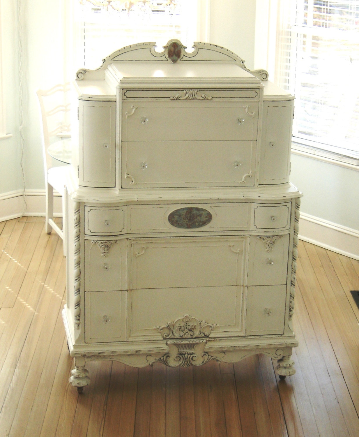 Shabby Chic Furniture: Antique Ornate Dresser White Shabby Chic Furniture