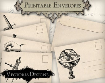 Science Envelopes Envelopes Printable Envelopes instant download digital collage sheet VD0339