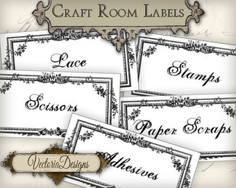 Craft Room Organization Labels Craft Room Labels printable instant download digital collage sheet VD0405