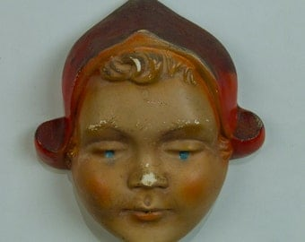 Vintage Chalkware Stringhead Dutch Girl