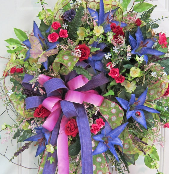 Spring Amp Summer Outdoor Wreath Beautiful Colors In Blue Rose