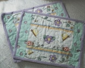 Mini placemats Floral and Butterflies in Mint, Lavender , yellow and white