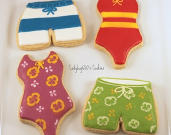 12 Swim trunk and swimsuit cookies, handmade & iced