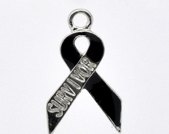 4 Silver and Black Awareness SURVIVOR Ribbon Charm Pendants 19mm x 11mm. CHE0076