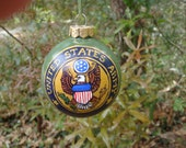 Hand Painted Glass Ornament with Army insignia no 29