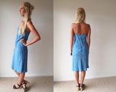 Vintage Blue Patterned Midi Length Singlet Strap Dress