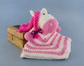 Pony Lovey / Security Blanket - PDF Crochet Pattern - Instant Download - Blankie Baby Blanket